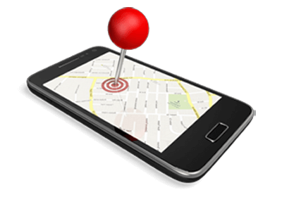 mobile phone with map and marker pin